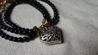3 Wrap Black Agate Beaded Silver Plate Heart Charm Chain Bracelet