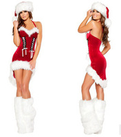 Hot Sale 2014 Miss Women Santa Claus Costumes Female Woman Fancy Dresses With Leg Warmers For Christmas Party Clothes Red
