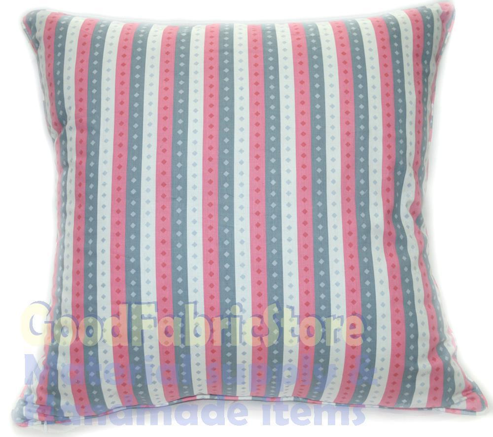 "Ra 012a Hot Pink Grey White Stripe Soft Cotton Fabric Cushion Cover/Pillow Case Custom Size16x16 18x18 18""x18"" 19x19 20x20 24x24(China (Mainland))"