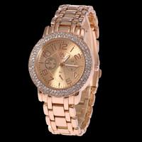 New Arrival Luxury SHIKAI Brand Crystal Watch Ladies Rose Gold/Gold Stainless Steel Quartz Watch Women Men Fashion Dress Watch