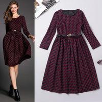 Best Quality!New Fashion European Amercia Dress 2014 Autumn Winter Women Wave Print Long Sleeve Mid-Calf Cotton Dress Novelties