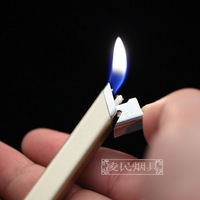 Slim and lighters consigned electronic flame delicate lighters Creative personality metal gas lighters