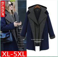 jacket woolen wool winter dresses long sleeve plus size xxxxxl winter womens coat Designer branded women outwear and coats
