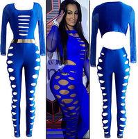 Sexy Lady Long-sleeved Mesh Holes Nightclub Bandage Jumpsuit Without Belt Maxi Dress Sleeveless Beach prom Hole bandage