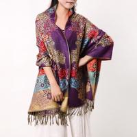 Dark purple big scarf female autumn and winter pijian weibo nv muffler scarf female winter 2014
