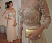 New Arrival Scoop Neck with Half Sleeves and Crystal Beading Modest Chiffon Plus Size Prom Dresses with Lace