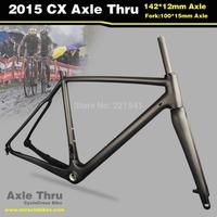 2015 Hot Sale Full Carbon Fiber Cyclocross Bike Frameset Thru Axle Bicycle Frame Fork Dia 27.2 Seat Post Disc Brake 56cm Matte