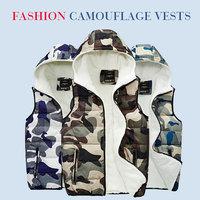 Lover vest super warm casual hooded vests men women fashion outwear Imitation lambs wool added camouflage waistcoat