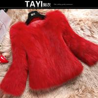 EMS Free shipping 2015 new winter women's full pelt three quarter slim Finland imports fox fur short design really fox fur coat
