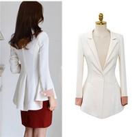 Free Shipping Spring Autumn Korean Slim Long Sleeve Lady Dovetail Suit , Medium-Long Large Size Women's Professional Blazer