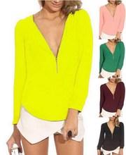 2015 Neon Yellow Green Sale Chiffon V neck Sexy Zipper Blouse blusas roupas femininas Long Sleeve casual office work wear Shirts(China (Mainland))