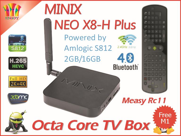 Wholesale 10pcs=a lot MINIX X8-H Plus WIFI Android 4.4 Amlogic S812 Quad Core 2G/16G Ultra HD H.265 2160P XBMC Tv Box+Measy RC11(China (Mainland))