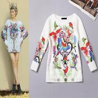 Best Quality!New Fashion Autumn Fall 2014 Women Bird Floral Print Long Sleeve Loose Blouses Top Ladies Cotton Sweatshirt