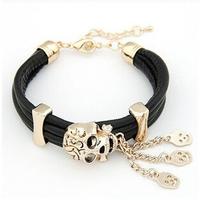 2014 Hot sale Fashion 19cm length personality skull bracelet Multicolor  PU leather multilayer alloy charm bracelets for women