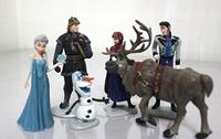 Frozen Figure Play Set Frozen Princess Anna Elsa 6 figure set movie Cartoon Anime princess doll toy Drop shipment