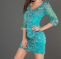 Tulle Fabric abendkleider V Neck 100% Beading Hand Work Half Sleeves Short Party Dresses OL102437