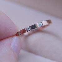 18KGP Rose Gold Plated Titanium Steel Three CZ Diamond Rings Fashion Brand Jewelry for Men Women Free Shipping (GR142)
