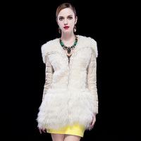 Free shipping DHL 2014 new sheepskin fur lamb fur Genuine Leather winter down coat jacket women star style outwear abrigos mujer
