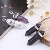 1PC Gemstone Jewelry Necklace Natural Crystal Hexagonal Point Reiki Chakra Pendant Necklaces Beads Chakra