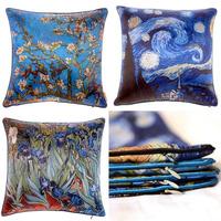 """Cotton Linen Pillow Case Flower Multi-colors  Van Gogh Art Oil Painting Graffiti Cushion Cover Waist Decorative Pillow 18"""""""