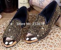 Gold/Black Crystal Men shoes Fashion Celebrity Flat shoes For men Size 39-45 on sale