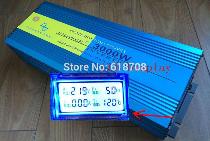 LCD Display 6000W Peak Pure Sine Wave Inverter DC 24V TO AC 220V 230V 240V Power Inverter 3000W freeshipping(China (Mainland))