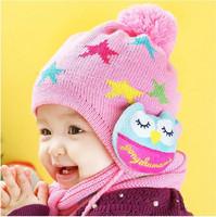 2014 Winter new style stars children's winter Hat OWL child Two Piece Set