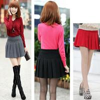 New 2014 Summer Autumn Womans Woolen High Waist Skirt Thermal Slim hip skirt Elastic Waist Mini Pleated bust Skirt  For Female