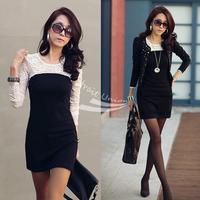 Black Sexy Women's Ladies Casual Mini Slim Cotton Lace Dress Clubwear long Sleeve 3360