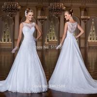 New Elegant Scoop Neckline Lace Appliques White Wedding Gown Dress Bride 2015 Vestido Saia Feminina