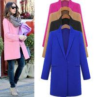 Boyfriend Women Wool blendParka Coat Winter Loose Outwear Jacket Blazer 6 Colors New plus size