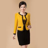 Quinquagenarian women's outerwear plus size mother clothing twinset one-piece dress slim 2014 autumn