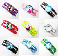 24pcs Frozen Antique Sideways Glass Charm Queen Elsa princess Anna snowman Olaf mix  Bracelet  Wristbands Party Child Xmas Gift