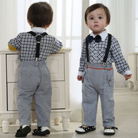 Free shipping -3set/lot -2pcs baby clothing suits-Baby boy plaid long-sleeved shirt + overalls child - baby gentleman suit