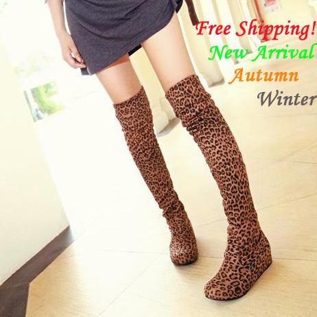 plus size 34-43 2013 outono nova chegada botas de inverno para as mulheres leopardo flat botas alta- perna overknee botas transporte livre(China (Mainland))