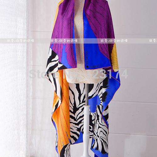 Autumn and winter quality personalized print zebra print scarf mulberry silk scarf thickening slanting silk stripe large 140cm(China (Mainland))