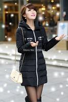 2014 New Fashion Women Winter Duck Down Long Slim Hooded Coat Jacket Parka