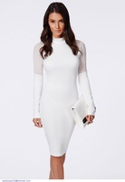 White High Neck Midi Dress with Mesh  LC6759