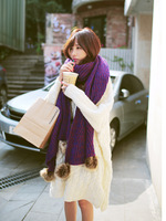 2014 big rabbit fur ball yarn scarf winter thickening knitted thermal plus size women's scarf