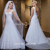 Sexy Spaghetti Straps Sweetheart Open Back White Lace Bride Wedding Dresses 2015 New Vestido De Noiva Renda