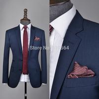 Free shipping 2014 Men's Custom Made Suit European Style Slim Fit Dress Suits Blue/Gray/Dark Grey(jacket+pants)