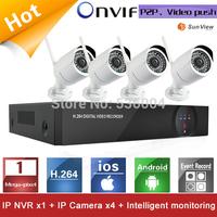 4ch NVR KIT 720P 1.0mp Wireless wifi IP Camera outdoor P2P Home alarm video push motion sensor CCTV Security Surveillance system