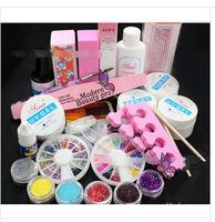 2014 New Professional Nail Art UV Gel Acrylic Glitter Powder Toe Separator Glue Crystal Pen Nail Art Tips Tool Set Brush Kit