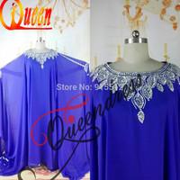 Vestido de Noite Scoop Neckline 2014 Leaves Beading Patterns Long Sleeves Royal Blues 2014 Abaya Dubai Kaftan