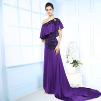 Dress Party Evening Elegant Long Evening Dress Purple Color Embroidered Silk Evening Gown One-shoulder Court Train Evening Dress