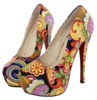 big size eur 34-45 girls printed sexy red bottom high heels ladies wedding shoes woman 2015 spring platform women pumps GD141517