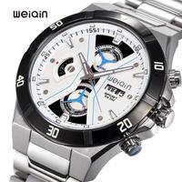 2015 Women Watches Relogios Femininos Luxury Brand Weiqin Stainless Steel Watches Watch 5atm Waterproof Chronograph Luminous
