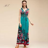 vestidos 2014 New Fashion Print Long Maxi Women Dress Sexy Deep V Backless Sleeveless Party Dresses Plus Size vestido de festa