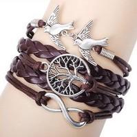 Fashion simple love bird pearl tree cross Infinity bracelet Charm Leather Multilayer Bracelet jewelry