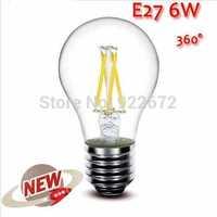 1PCS/LOT  High Power E27 4W 6W 8W 4LED Chips LED Bulb Light Lamps Glass Globe Lamp Edison Filament bulb Warm White 110V-240V